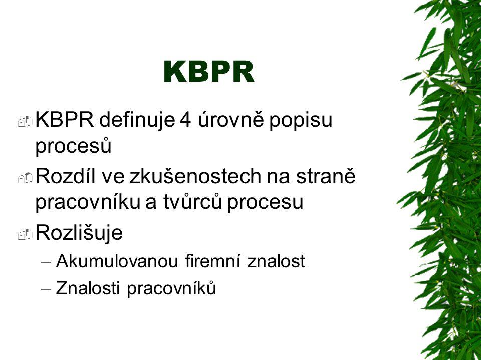KBPR  KBPR definuje 4 úrovně popisu procesů  Rozdíl ve zkušenostech na straně pracovníku a tvůrců procesu  Rozlišuje –Akumulovanou firemní znalost –Znalosti pracovníků