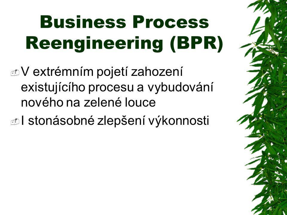 Business Process Reengineering (BPR)  V extrémním pojetí zahození existujícího procesu a vybudování nového na zelené louce  I stonásobné zlepšení výkonnosti