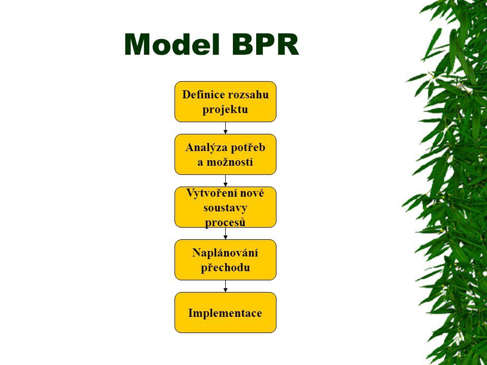 Model BPR Definice rozsahu projektu Analýza potřeb a možností Vytvoření nové soustavy procesů Naplánování přechodu Implementace