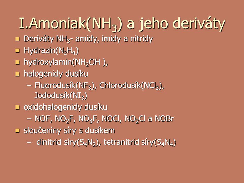 I.Amoniak(NH 3 ) a jeho deriváty Deriváty NH 3 - amidy, imidy a nitridy Deriváty NH 3 - amidy, imidy a nitridy Hydrazin(N 2 H 4 ) Hydrazin(N 2 H 4 ) hydroxylamin(NH 2 OH ), hydroxylamin(NH 2 OH ), halogenidy dusíku halogenidy dusíku –Fluorodusík(NF 3 ), Chlorodusík(NCl 3 ), Jododusík(NI 3 ) oxidohalogenidy dusíku oxidohalogenidy dusíku –NOF, NO 2 F, NO 3 F, NOCl, NO 2 Cl a NOBr sloučeniny síry s dusíkem sloučeniny síry s dusíkem – dinitrid síry(S 4 N 2 ), tetranitrid síry(S 4 N 4 )