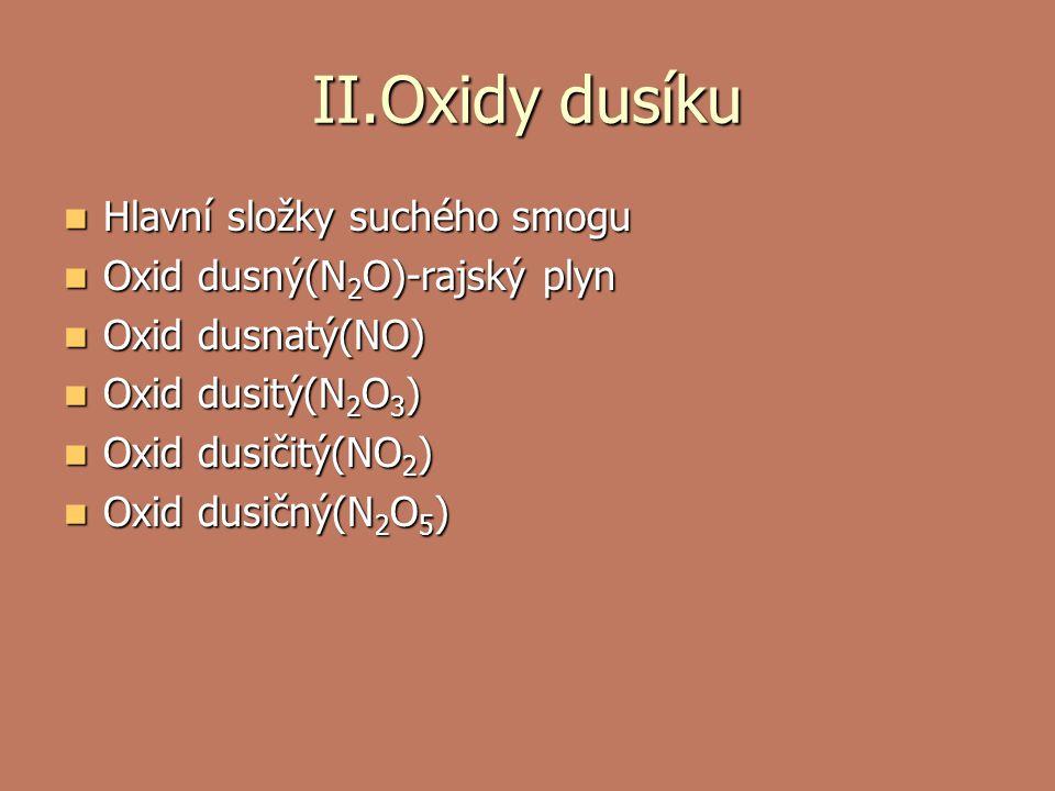 II.Oxidy dusíku Hlavní složky suchého smogu Hlavní složky suchého smogu Oxid dusný(N 2 O)-rajský plyn Oxid dusný(N 2 O)-rajský plyn Oxid dusnatý(NO) Oxid dusnatý(NO) Oxid dusitý(N 2 O 3 ) Oxid dusitý(N 2 O 3 ) Oxid dusičitý(NO 2 ) Oxid dusičitý(NO 2 ) Oxid dusičný(N 2 O 5 ) Oxid dusičný(N 2 O 5 )