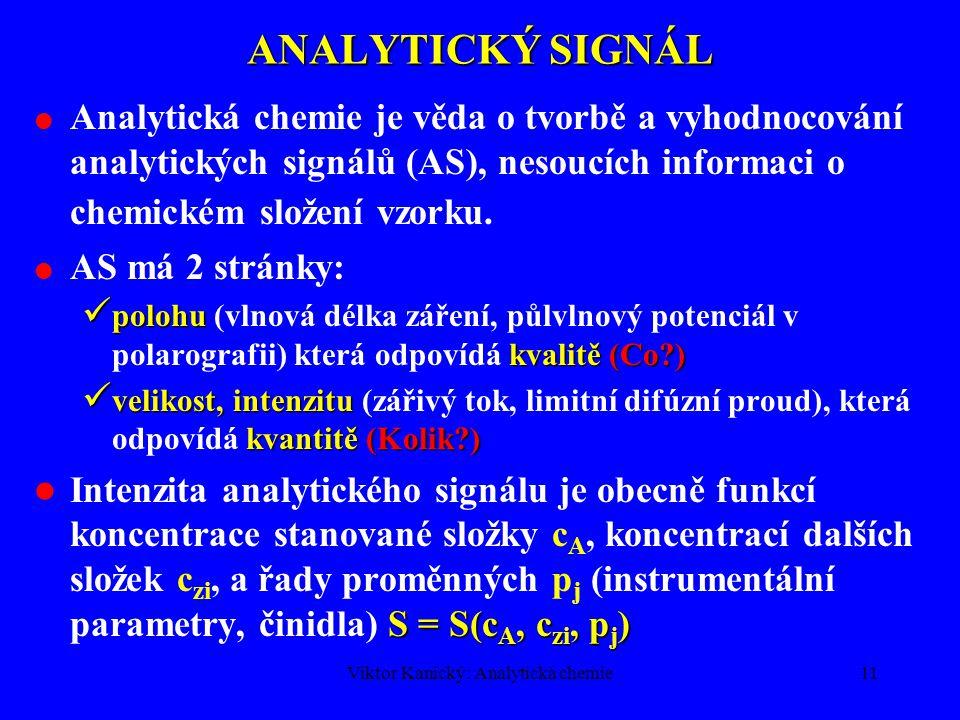 Viktor Kanický: Analytická chemie10 VLASTNÍ ANALYTICKÝ SYSTÉM Schéma analytického procesu Laboratorní vzorek Příprava vzorku k měření Měření Analytický signál Vyhodnocení signálu Analytický výsledek
