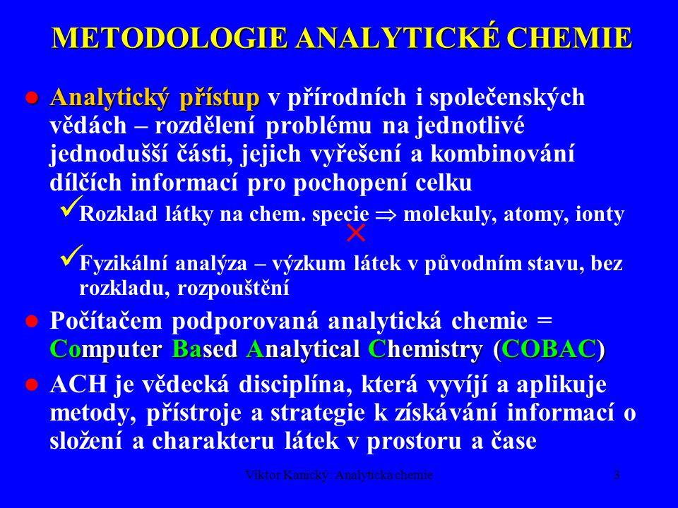 Viktor Kanický: Analytická chemie3 METODOLOGIE ANALYTICKÉ CHEMIE Analytický přístup Analytický přístup v přírodních i společenských vědách – rozdělení problému na jednotlivé jednodušší části, jejich vyřešení a kombinování dílčích informací pro pochopení celku Rozklad látky na chem.