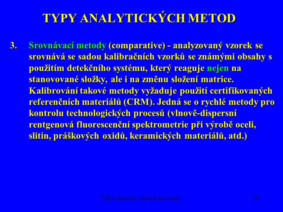 Viktor Kanický: Analytická chemie37 TYPY ANALYTICKÝCH METOD Návrh ISO Guide 32 klasifikuje metody chemické analýzy podle charakteru kalibračního postu