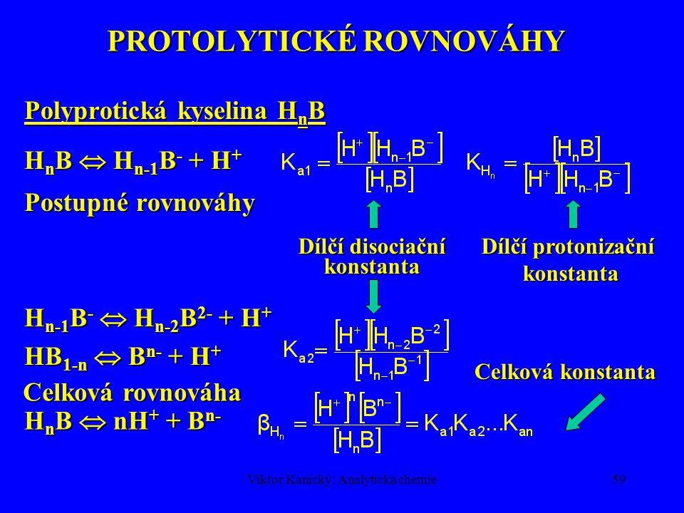 Viktor Kanický: Analytická chemie58 TYPY CHEMICKÝCH ROVNOVÁH Protolytické reakce Komplexotvorné reakce Oxidačně-redukční reakce Homogenní Srážecí reakce rozdělovací rovnováhy kapalina-kapalina Rovnováhy na měničích iontů Heterogenní Soustava