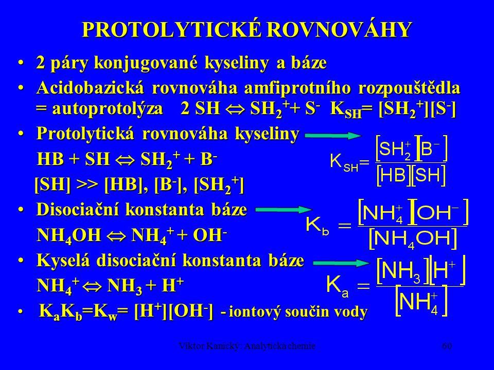 Viktor Kanický: Analytická chemie59 PROTOLYTICKÉ ROVNOVÁHY Polyprotická kyselina H n B H n B  H n-1 B - + H + Postupné rovnováhy H n-1 B -  H n-2 B