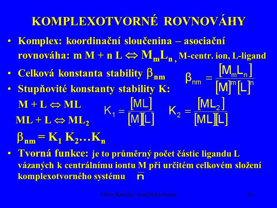 Viktor Kanický: Analytická chemie60 PROTOLYTICKÉ ROVNOVÁHY 2 páry konjugované kyseliny a báze2 páry konjugované kyseliny a báze Acidobazická rovnováha amfiprotního rozpouštědla = autoprotolýza 2 SH  SH 2 + + S - K SH = [SH 2 + ][S - ]Acidobazická rovnováha amfiprotního rozpouštědla = autoprotolýza 2 SH  SH 2 + + S - K SH = [SH 2 + ][S - ] Protolytická rovnováha kyselinyProtolytická rovnováha kyseliny HB + SH  SH 2 + + B - HB + SH  SH 2 + + B - [SH] >> [HB], [B - ], [SH 2 + ] [SH] >> [HB], [B - ], [SH 2 + ] Disociační konstanta bázeDisociační konstanta báze NH 4 OH  NH 4 + + OH - NH 4 OH  NH 4 + + OH - Kyselá disociační konstanta bázeKyselá disociační konstanta báze NH 4 +  NH 3 + H + NH 4 +  NH 3 + H + K a K b =K w = [H + ][OH - ] - iontový součin vody K a K b =K w = [H + ][OH - ] - iontový součin vody