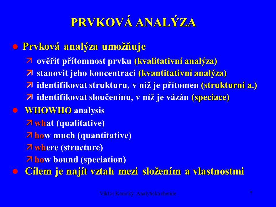 Viktor Kanický: Analytická chemie6 KLASIFIKACE ANALYTICKÝCH METOD PODLE OBJEKTU ANALÝZY Materiál (příklady) : Materiál (příklady) : analýza vody, geologických materiálů, metalurgických materiálů, keramiky, stavebních hmot, životního prostředí, léčiv, potravin, klinická analýza Typ stanovované složky-analytu (příklady): Typ stanovované složky-analytu (příklady): prvková analýza anorganických i organických vzorků analýza organických sloučenin analýza radioaktivních izotopů Obsah stanovovaných složek Obsah stanovovaných složek celková analýza (hlavní složky,  =100%) stopová (  g/g) a ultrastopová (ng/g, pg/g) analýza Velikost vzorku (g, mg,  g, ng,  l, nl) Velikost vzorku (g, mg,  g, ng,  l, nl)