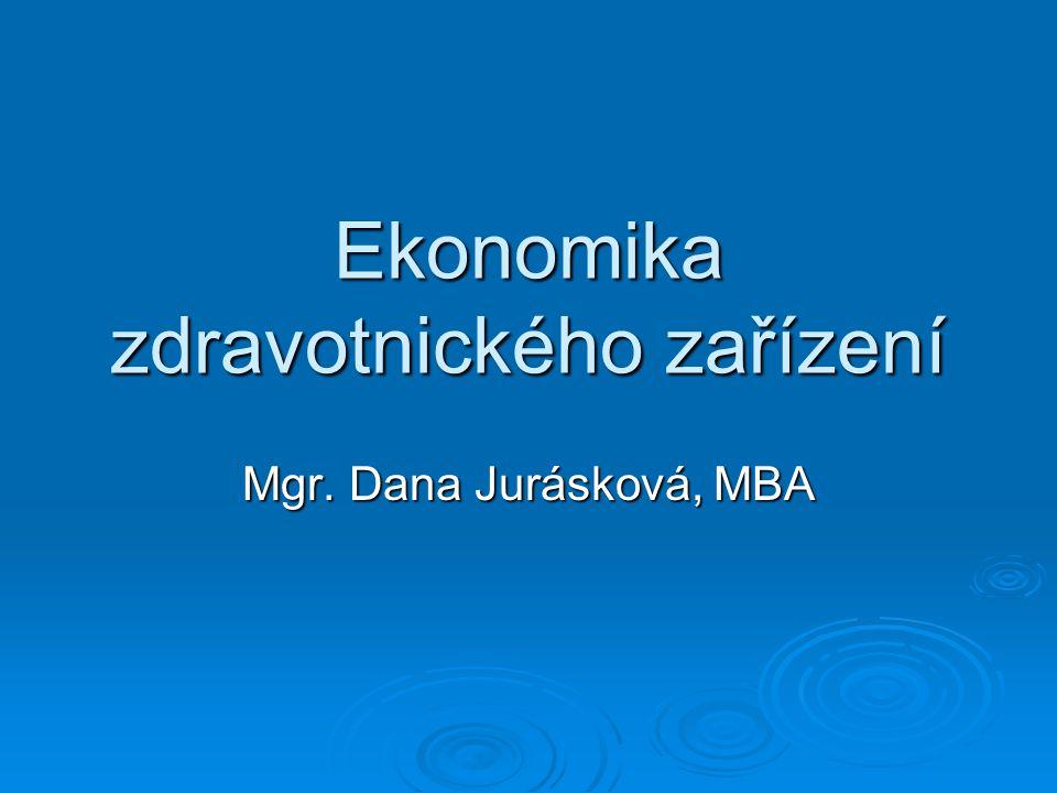 Ekonomika zdravotnického zařízení Mgr. Dana Jurásková, MBA