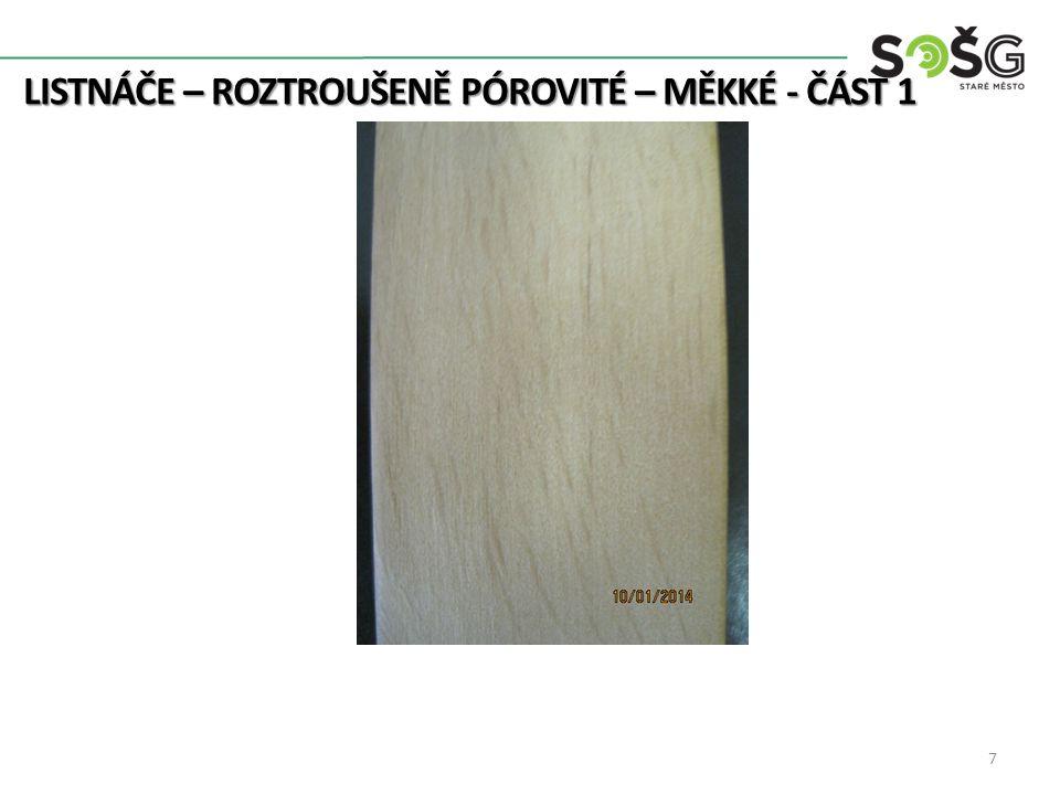 Vrba Bílá – Salix Alba – VR Rod má 200 druhů 25m Kmen ø až 1m Listy kopinaté, úzké, pilkovité, na rubu bíle plstnaté Oranžové jádro, bílá běl 520 kg/m 3 Dřevo měkké, málo pevné, málo trvanlivé 8