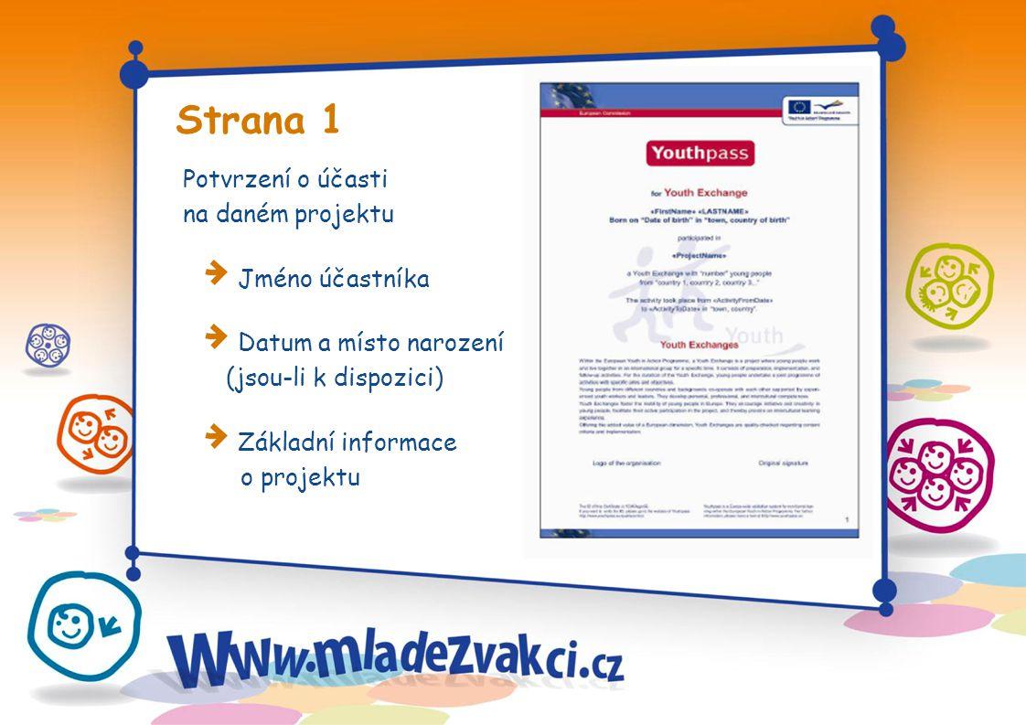 Strana 1 Potvrzení o účasti na daném projektu Jméno účastníka Datum a místo narození (jsou-li k dispozici) Základní informace o projektu