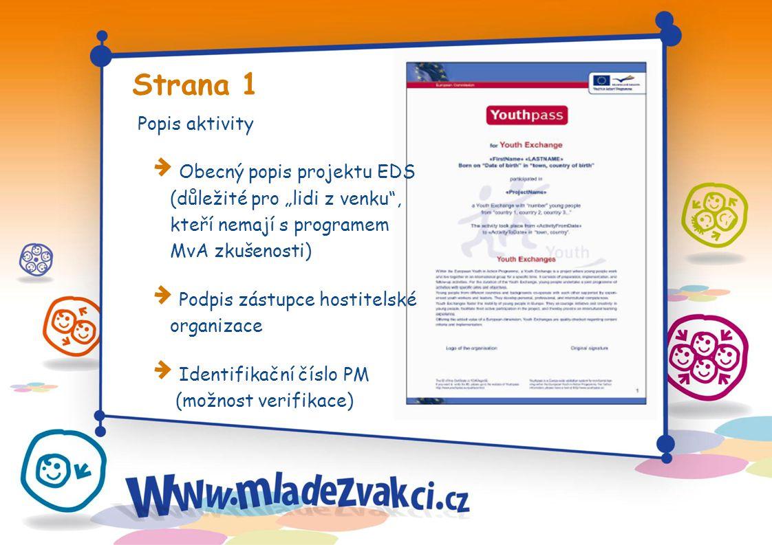 Strana 2 a 3 Popis a role hostitelské organizace Individuální zapojení dobrovolníka Logo organizace Popis procesu vzdělávání v rámci EDS, založený na tzv.