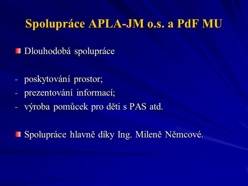 Spolupráce APLA-JM o.s. a PdF MU Dlouhodobá spolupráce - poskytování prostor; - prezentování informací; - výroba pomůcek pro děti s PAS atd. Spoluprác