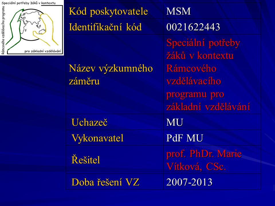 Kód poskytovatele MSM Identifikační kód 0021622443 Název výzkumného záměru Speciální potřeby žáků v kontextu Rámcového vzdělávacího programu pro zákla