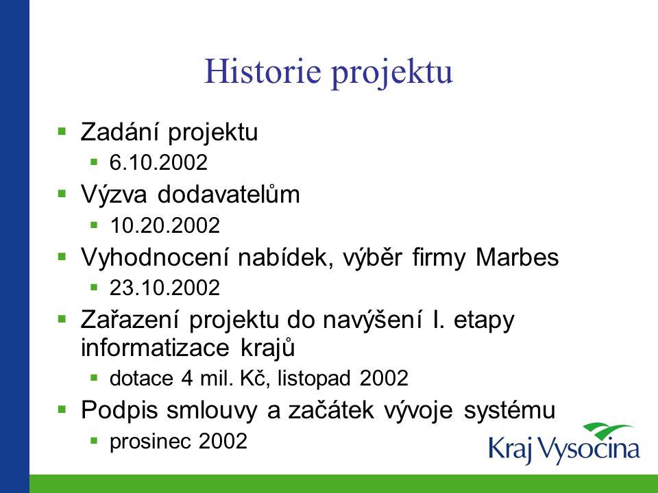 Historie projektu  Zadání projektu  6.10.2002  Výzva dodavatelům  10.20.2002  Vyhodnocení nabídek, výběr firmy Marbes  23.10.2002  Zařazení projektu do navýšení I.