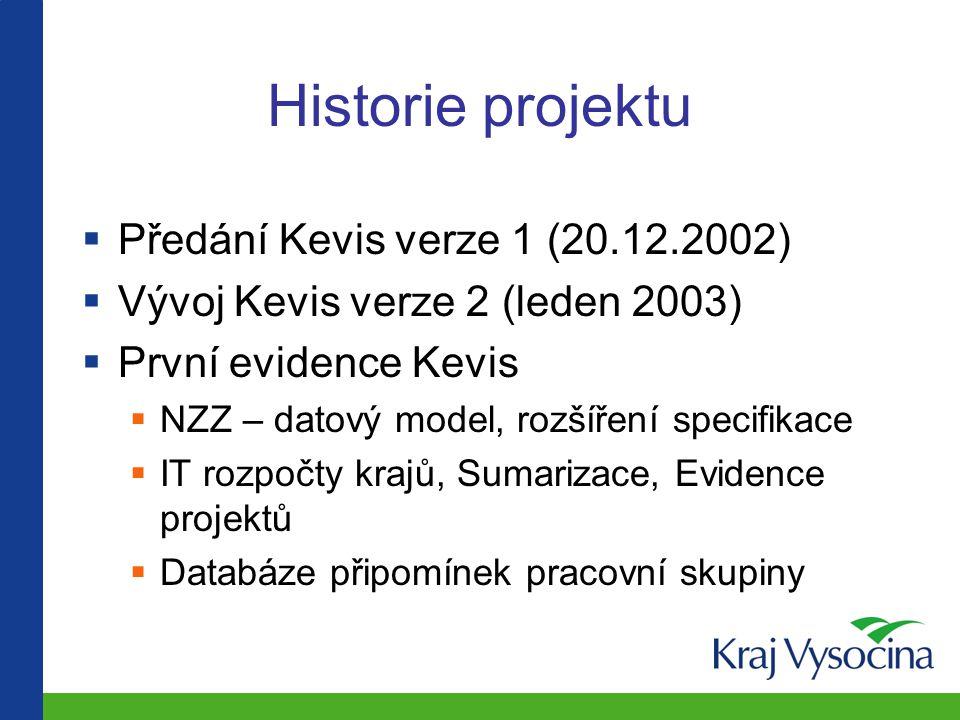 Historie projektu  Předání Kevis verze 1 (20.12.2002)  Vývoj Kevis verze 2 (leden 2003)  První evidence Kevis  NZZ – datový model, rozšíření speci