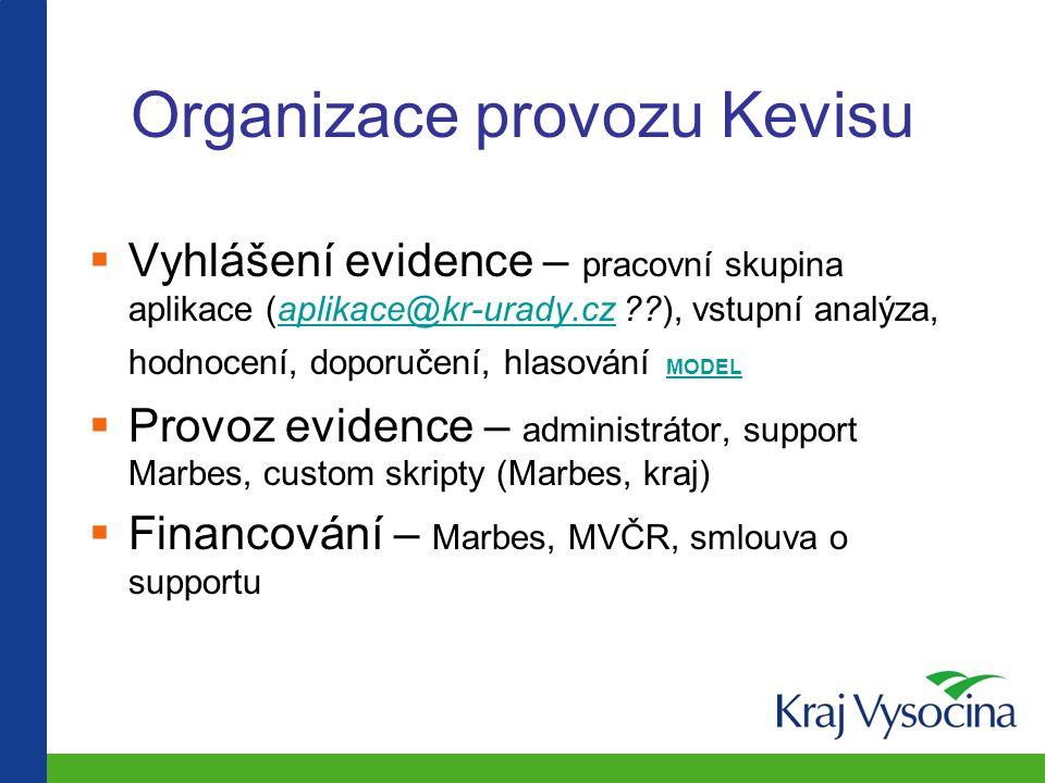 Organizace provozu Kevisu  Vyhlášení evidence – pracovní skupina aplikace (aplikace@kr-urady.cz ??), vstupní analýza, hodnocení, doporučení, hlasován
