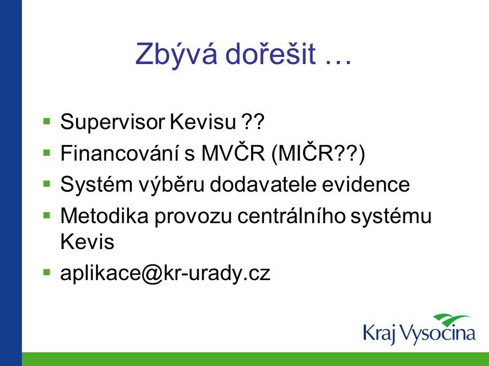 Zbývá dořešit …  Supervisor Kevisu ??  Financování s MVČR (MIČR??)  Systém výběru dodavatele evidence  Metodika provozu centrálního systému Kevis