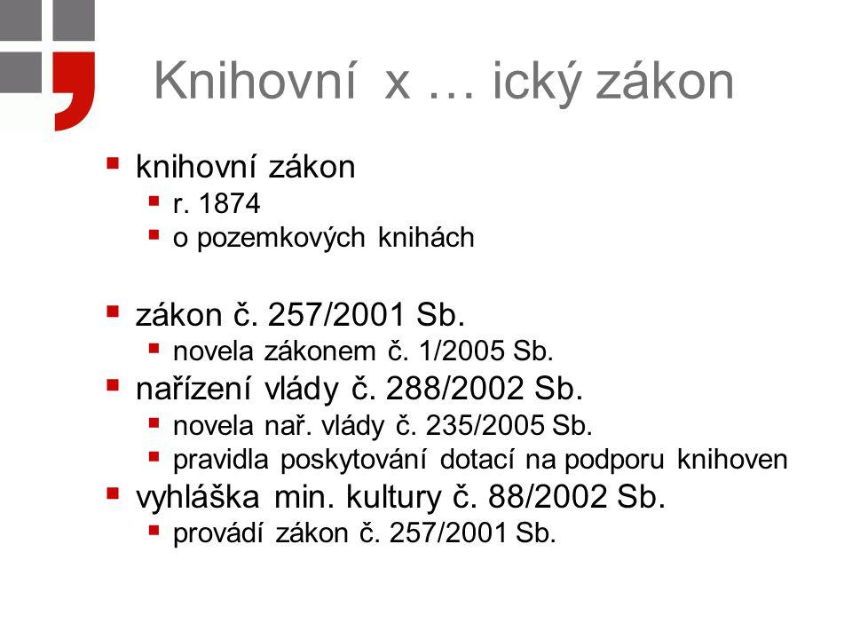 Knihovní x … ický zákon  knihovní zákon  r. 1874  o pozemkových knihách  zákon č.