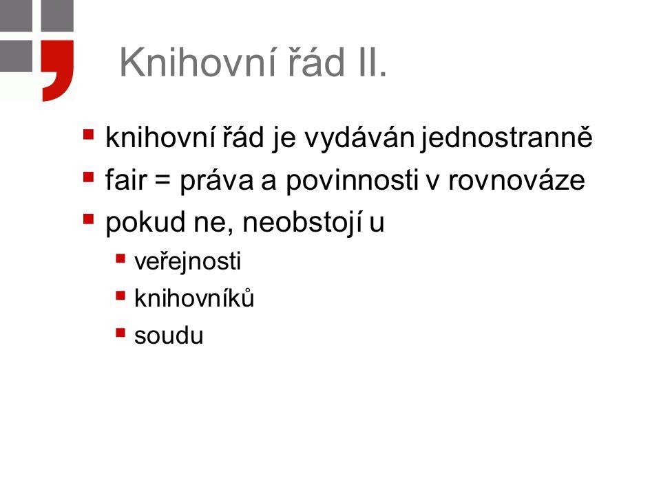 Knihovní řád II.