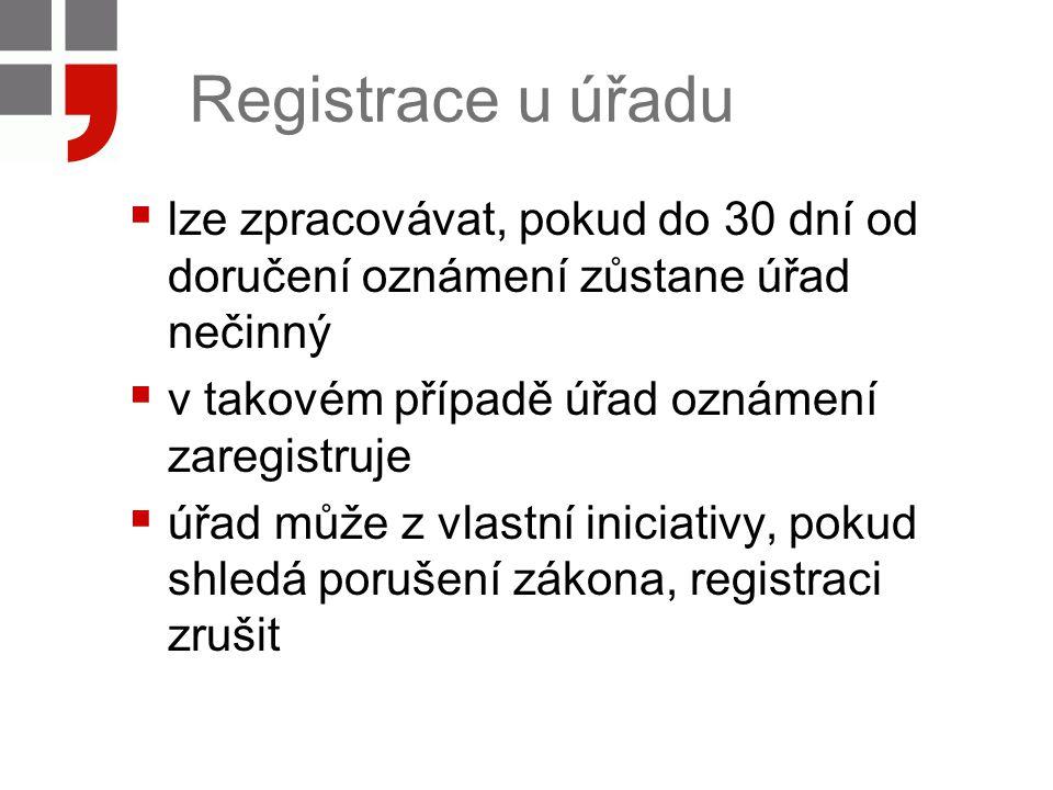 Registrace u úřadu  lze zpracovávat, pokud do 30 dní od doručení oznámení zůstane úřad nečinný  v takovém případě úřad oznámení zaregistruje  úřad může z vlastní iniciativy, pokud shledá porušení zákona, registraci zrušit