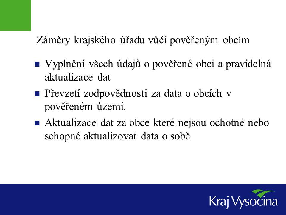 Záměry krajského úřadu vůči pověřeným obcím Vyplnění všech údajů o pověřené obci a pravidelná aktualizace dat Převzetí zodpovědnosti za data o obcích