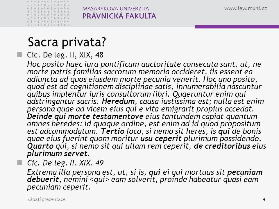 www.law.muni.cz Zápatí prezentace4 Sacra privata.Cic.