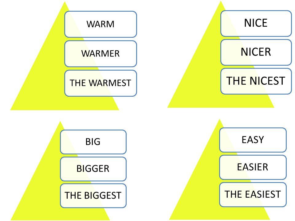 WARMWARMERTHE WARMEST NICENICERTHE NICEST BIGBIGGERTHE BIGGEST EASYEASIERTHE EASIEST