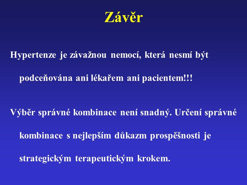 Závěr Hypertenze je závažnou nemocí, která nesmí být podceňována ani lékařem ani pacientem!!! Výběr správné kombinace není snadný. Určení správné komb