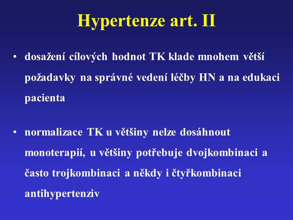 Hypertenze art. II dosažení cílových hodnot TK klade mnohem větší požadavky na správné vedení léčby HN a na edukaci pacienta normalizace TK u většiny