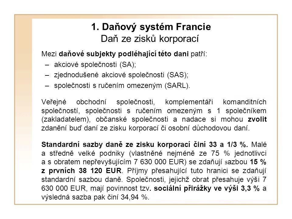 1. Daňový systém Francie Daň ze zisků korporací Mezi daňové subjekty podléhající této dani patří: –akciové společnosti (SA); –zjednodušené akciové spo