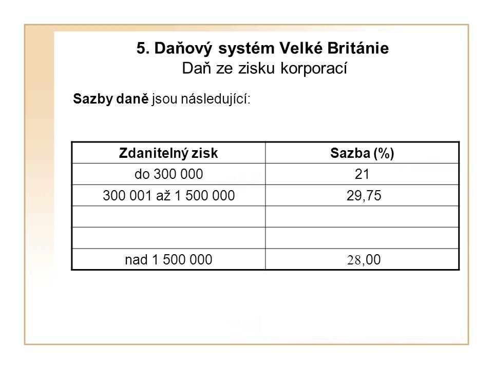 5. Daňový systém Velké Británie Daň ze zisku korporací Sazby daně jsou následující: Zdanitelný ziskSazba (%) do 300 00021 300 001 až 1 500 000 29,75 n