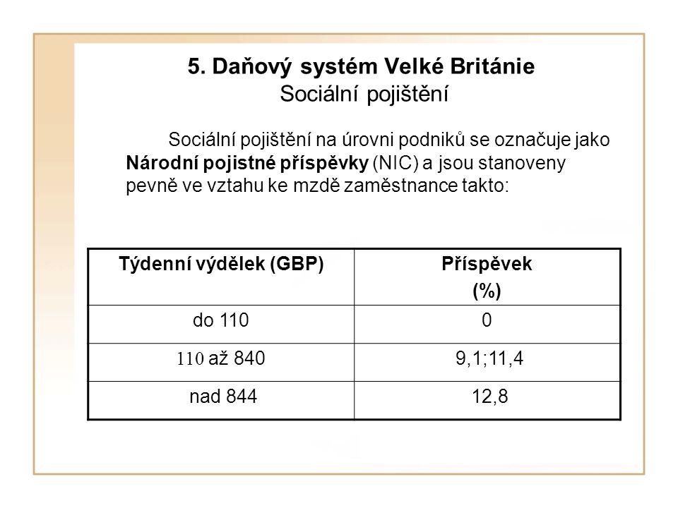 5. Daňový systém Velké Británie Sociální pojištění Sociální pojištění na úrovni podniků se označuje jako Národní pojistné příspěvky (NIC) a jsou stano