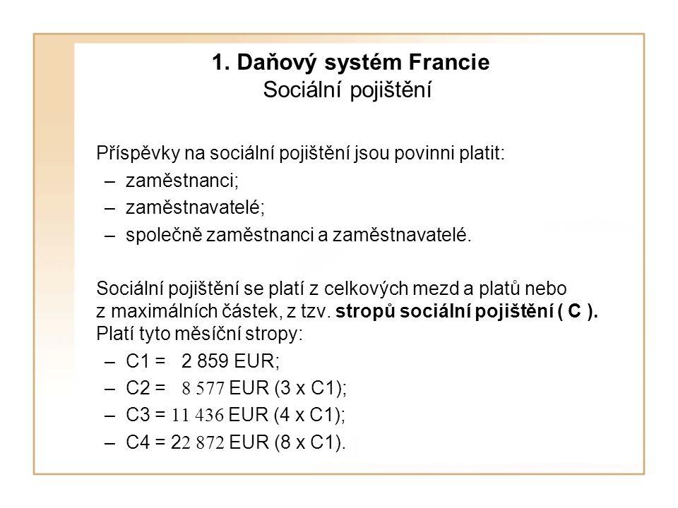 1. Daňový systém Francie Sociální pojištění Příspěvky na sociální pojištění jsou povinni platit: –zaměstnanci; –zaměstnavatelé; –společně zaměstnanci