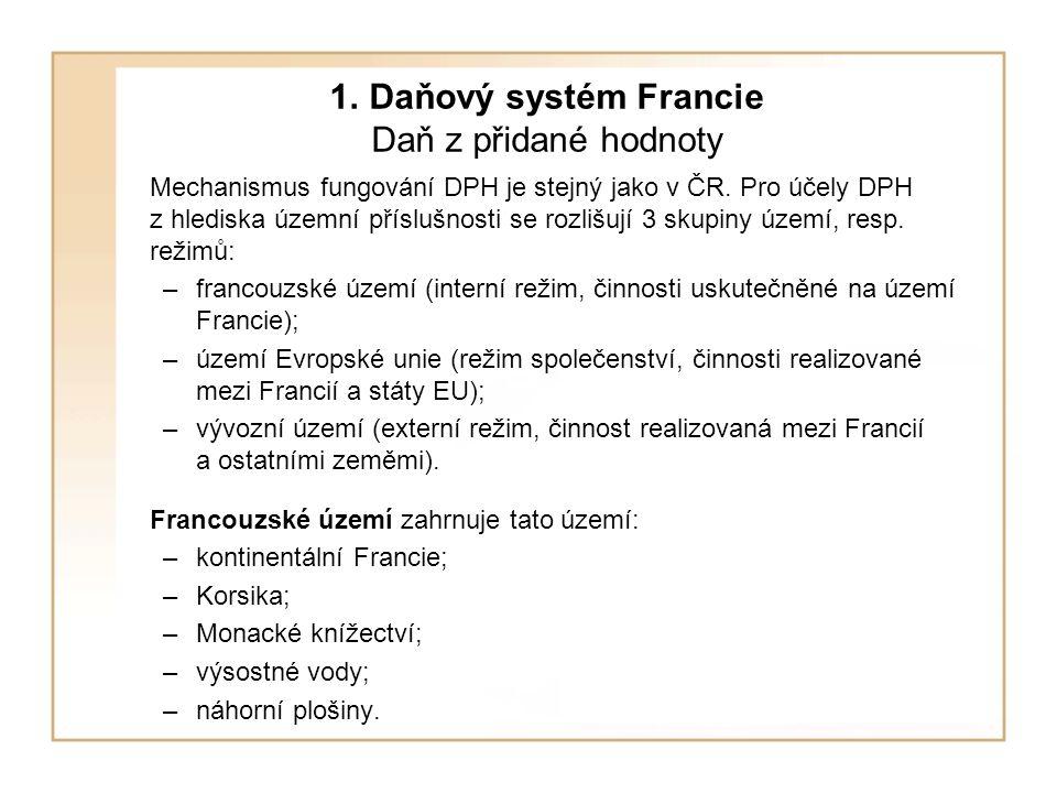 1. Daňový systém Francie Daň z přidané hodnoty Mechanismus fungování DPH je stejný jako v ČR. Pro účely DPH z hlediska územní příslušnosti se rozlišuj