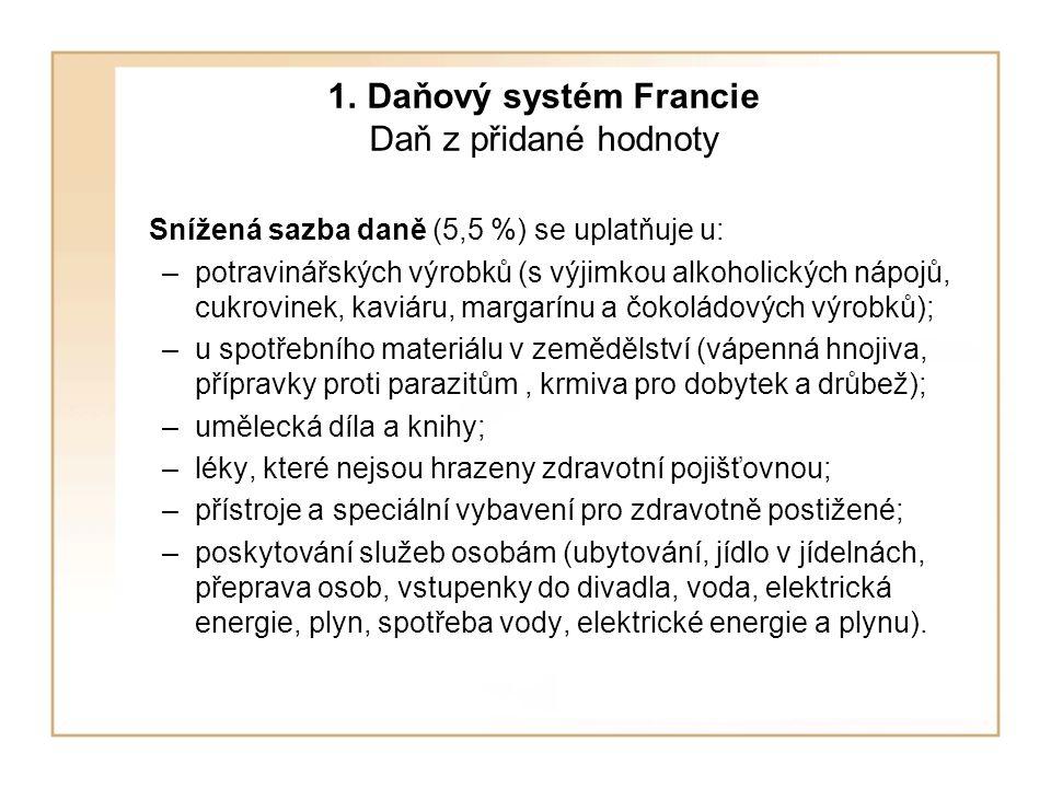 1. Daňový systém Francie Daň z přidané hodnoty Snížená sazba daně (5,5 %) se uplatňuje u: –potravinářských výrobků (s výjimkou alkoholických nápojů, c