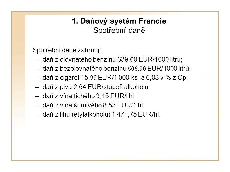 1. Daňový systém Francie Spotřební daně Spotřební daně zahrnují: –daň z olovnatého benzínu 639,60 EUR/1000 litrů; –daň z bezolovnatého benzínu 606,90