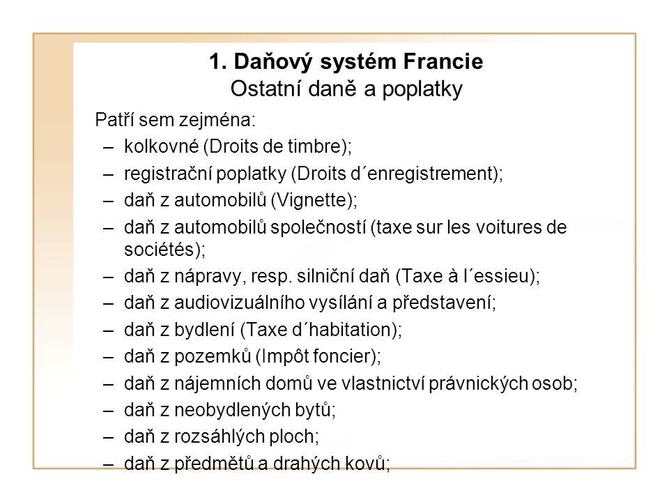1. Daňový systém Francie Ostatní daně a poplatky Patří sem zejména: –kolkovné (Droits de timbre); –registrační poplatky (Droits d´enregistrement); –da