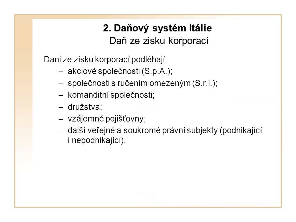 2. Daňový systém Itálie Daň ze zisku korporací Dani ze zisku korporací podléhají: –akciové společnosti (S.p.A.); –společnosti s ručením omezeným (S.r.