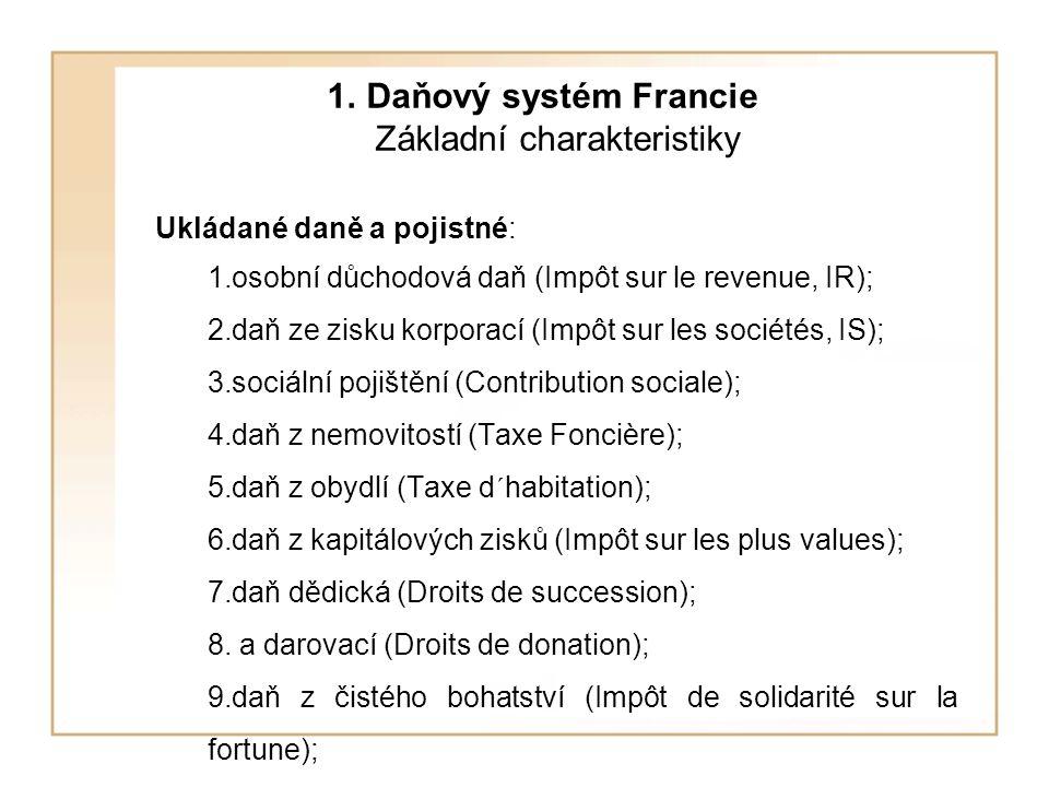 1. Daňový systém Francie Základní charakteristiky Ukládané daně a pojistné: 1.osobní důchodová daň (Impôt sur le revenue, IR); 2.daň ze zisku korporac