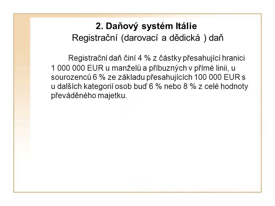 2. Daňový systém Itálie Registrační (darovací a dědická ) daň Registrační daň činí 4 % z částky přesahující hranici 1 000 000 EUR u manželů a příbuzný