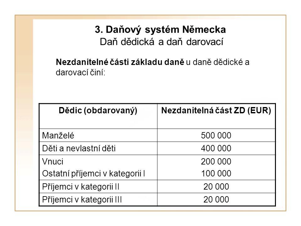 3. Daňový systém Německa Daň dědická a daň darovací Nezdanitelné části základu daně u daně dědické a darovací činí: Dědic (obdarovaný)Nezdanitelná čás