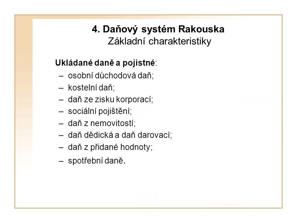 4. Daňový systém Rakouska Základní charakteristiky Ukládané daně a pojistné: –osobní důchodová daň; –kostelní daň; –daň ze zisku korporací; –sociální