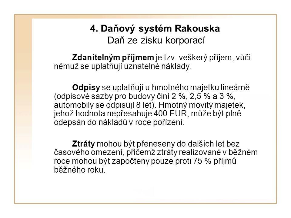 4.Daňový systém Rakouska Daň ze zisku korporací Zdanitelným příjmem je tzv.