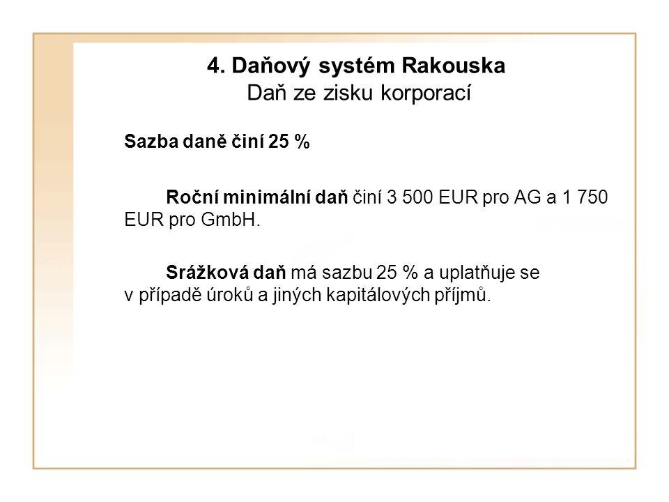 4. Daňový systém Rakouska Daň ze zisku korporací Sazba daně činí 25 % Roční minimální daň činí 3 500 EUR pro AG a 1 750 EUR pro GmbH. Srážková daň má