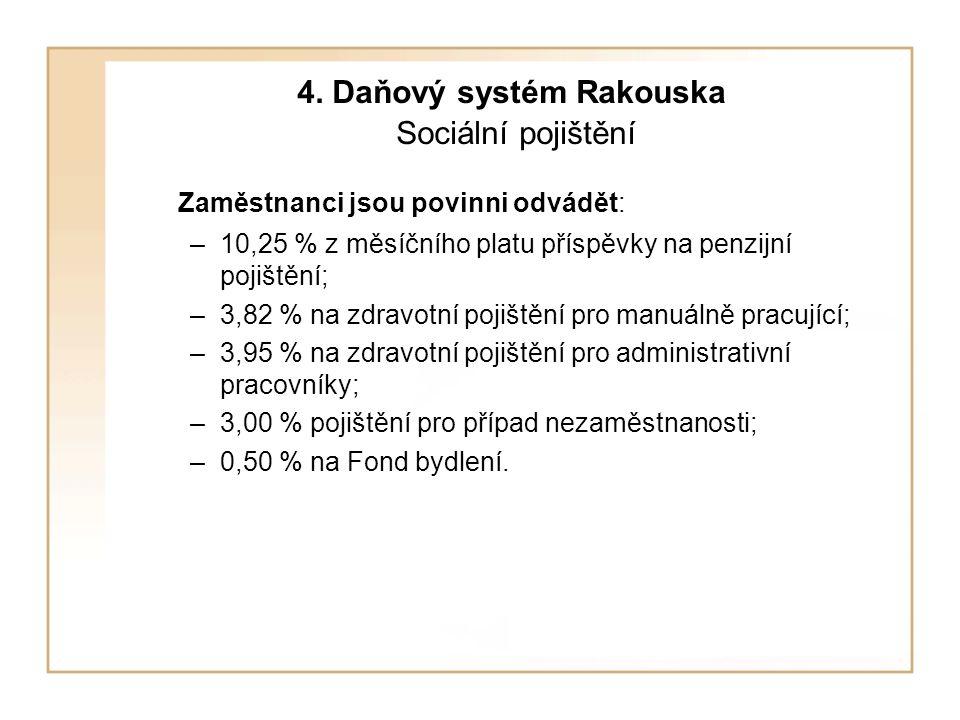 4. Daňový systém Rakouska Sociální pojištění Zaměstnanci jsou povinni odvádět: –10,25 % z měsíčního platu příspěvky na penzijní pojištění; –3,82 % na