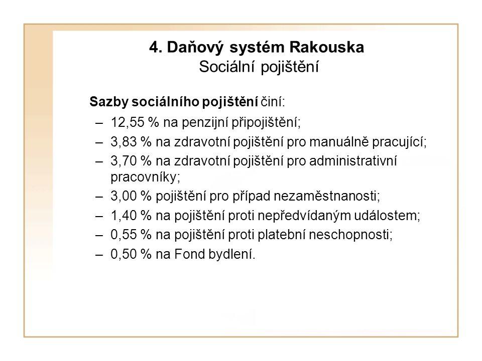 4. Daňový systém Rakouska Sociální pojištění Sazby sociálního pojištění činí: –12,55 % na penzijní připojištění; –3,83 % na zdravotní pojištění pro ma