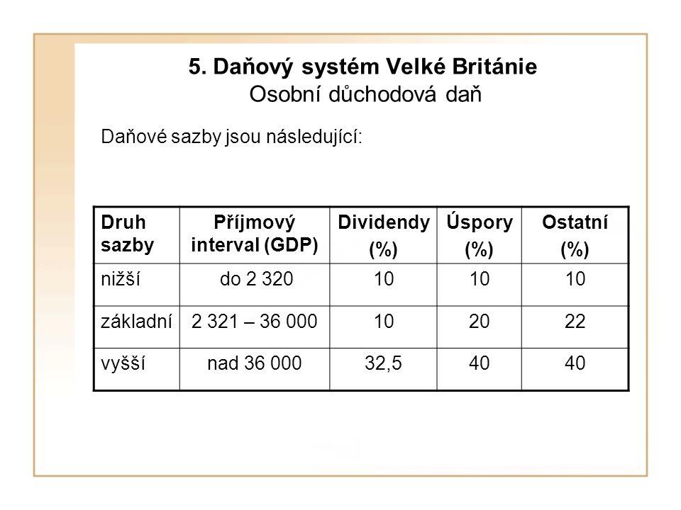 5. Daňový systém Velké Británie Osobní důchodová daň Daňové sazby jsou následující: Druh sazby Příjmový interval (GDP) Dividendy (%) Úspory (%) Ostatn