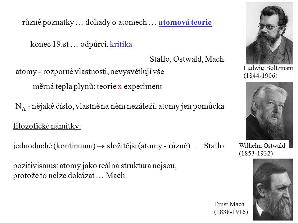 různé poznatky … dohady o atomech … atomová teorie konec 19.st … odpůrci, kritika Stallo, Ostwald, Mach Ernst Mach (1838-1916) pozitivismus: atomy jako reálná struktura nejsou, protože to nelze dokázat … Mach atomy - rozporné vlastnosti, nevysvětlují vše měrná tepla plynů: teorie x experiment N A - nějaké číslo, vlastně na něm nezáleží, atomy jen pomůcka filozofické námitky: jednoduché (kontinuum)  složitější (atomy - různé) … Stallo Ludwig Boltzmann (1844-1906) Wilhelm Ostwald (1853-1932)