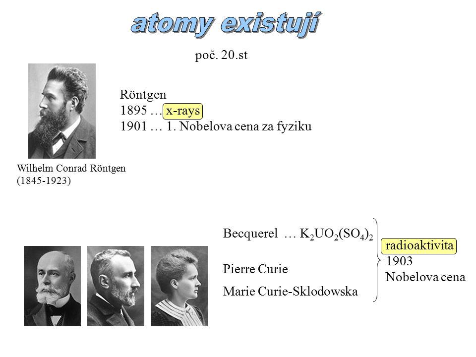 poč.20.st Wilhelm Conrad Röntgen (1845-1923) Röntgen 1895 … x-rays 1901 … 1.